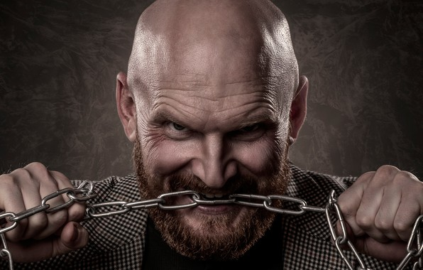 Picture look, face, background, man, hands, chain, bald, male, beard, bald, Ilya Kopeliovich