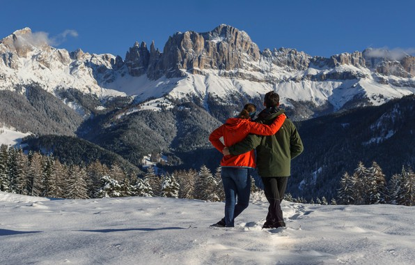 Picture girl, snow, mountains, guy