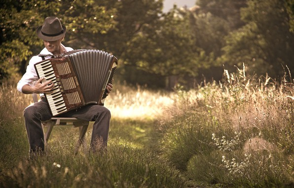 Picture nature, people, Acordeon