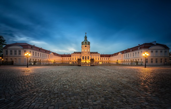 Picture the sky, the city, lights, tile, the building, the evening, Germany, area, lights, architecture, Berlin