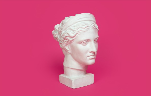Picture head, sculpture, pink background, gypsum, cast, plaster head, head of Diana