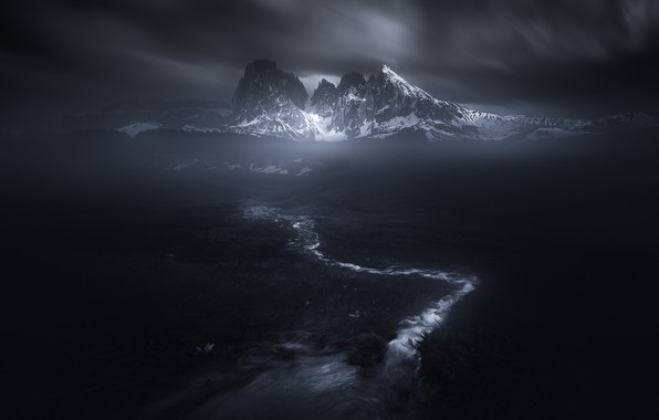 Picture snow, mountains, stream, darkness, the darkness