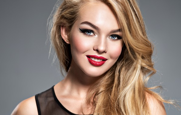 Picture girl, face, smile, model, portrait, makeup, blonde
