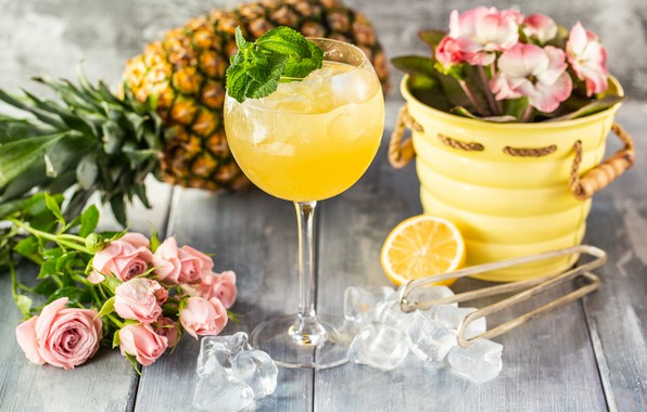 Picture ice, flowers, cocktail, citrus, pineapple