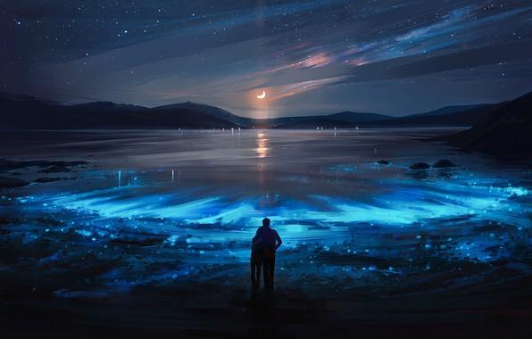 Picture girl, moon, sky, landscape, night, art, lake, stars, boy, mood, couple, artist, digital art, artwork, …