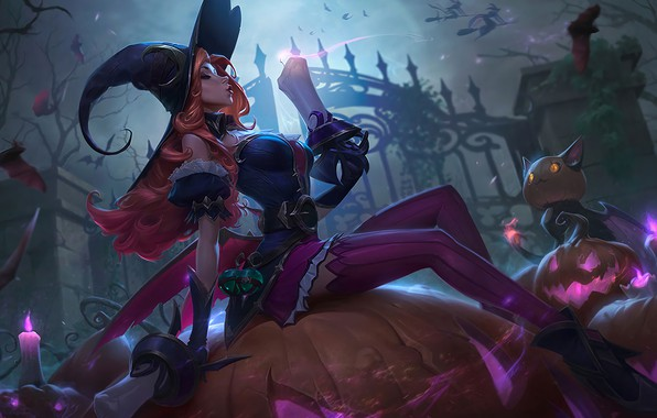Picture Halloween, fire, fantasy, game, stockings, night, redhead, League of Legends, purple, holiday, digital art, artwork, …