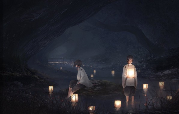 Picture night, lights, characters, river, in the water, rite, two girls, priestess