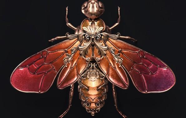 Picture minimalism, artist, rendering, digital art, artwork, black background, insect, bee, jewel, copper, rubies, Sasha Vinogradova