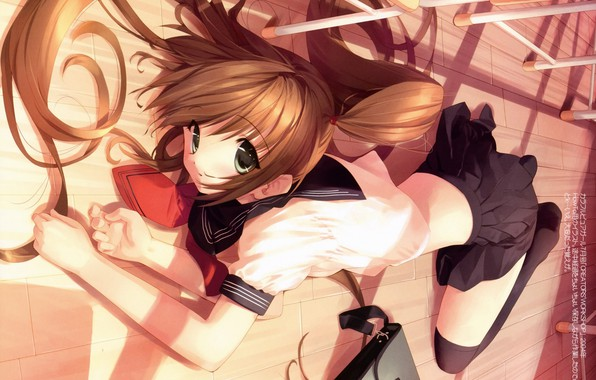 Picture class, red, schoolgirl, portfolio, on the floor, big eyes, two tails, sailor, ueda ryou