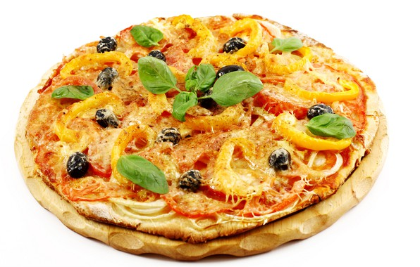 Picture white background, pizza, tray