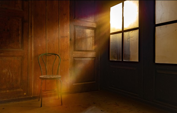 Picture light, window, chair