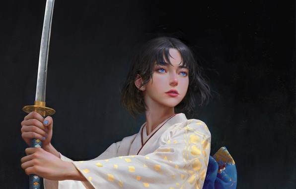 Picture katana, kimono, blue eyes, grey background, arm, stand, samurai, woman warrior, by Yuhong Ding