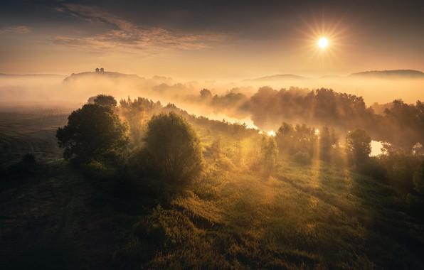Picture rays, fog, river, sunrise, The sun, river, rays, sun, fog, sunrise, Karol Offers