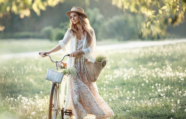 Picture summer, look, girl, nature, bike, pose, smile, hat, dress, Irina Nedyalkova