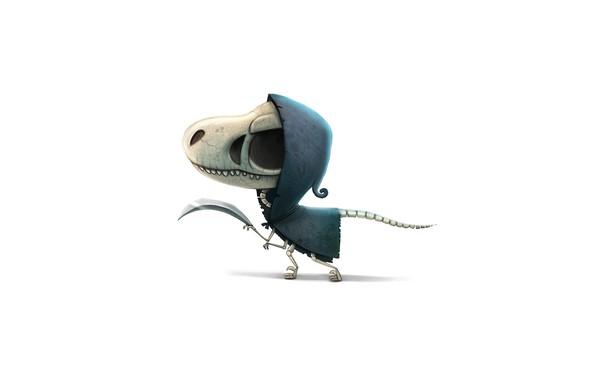 Picture skull, dinosaur, blade, bones, skeleton, hood, art, torn clothes, toothy, dinosaur, orbit, cryptidcreations