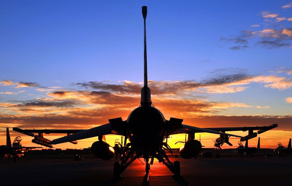 Picture twilight, sky, aircraft, sunset, F-16, clouds, aviation, General Dynamics F-16 Fighting Falcon, silhouette, F-16 Falcon, …
