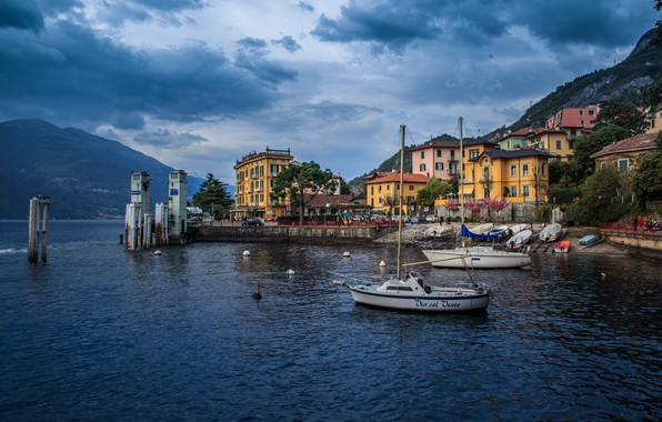 Picture sea, landscape, mountains, home, boats, Italy, Lombardy, municipality, Varenna