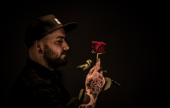 Picture love, rose, people, the tunnel, tattoo, male, cap, shirt, love, red rose, tunnel, tattoo, cap, …