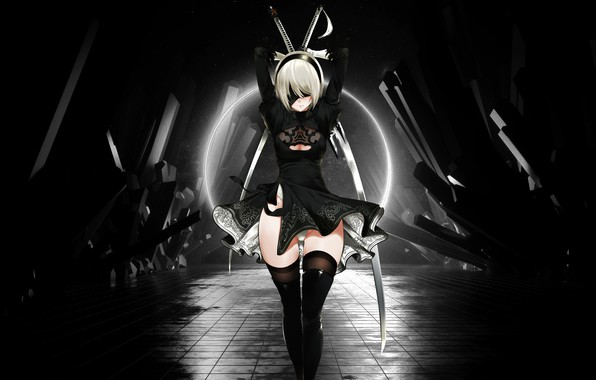 Wallpaper Black White Girl Game Anime Nier Nier Automata Nier Automata Images For Desktop Section Igry Download