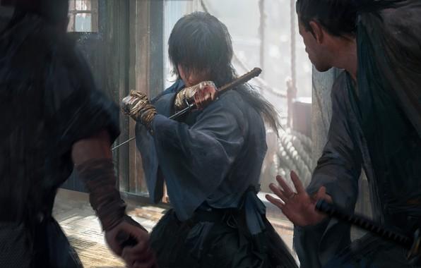 Picture katana, Japanese clothing, art, the fight, bandages, Samurai X, Rurouni Kenshin, Himura Kenshin, Hobo Kenshin, …