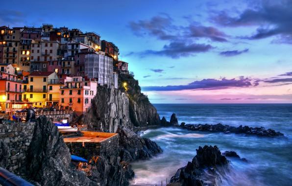 Picture sea, landscape, sunset, rock, home, the evening, lighting, Italy, the village, Manarola, Manarola, Cinque Terre, …