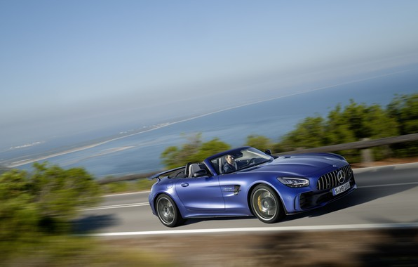 Picture machine, asphalt, water, lights, Mercedes-Benz, speed, Roadster, GT R, Mercedes-AMG