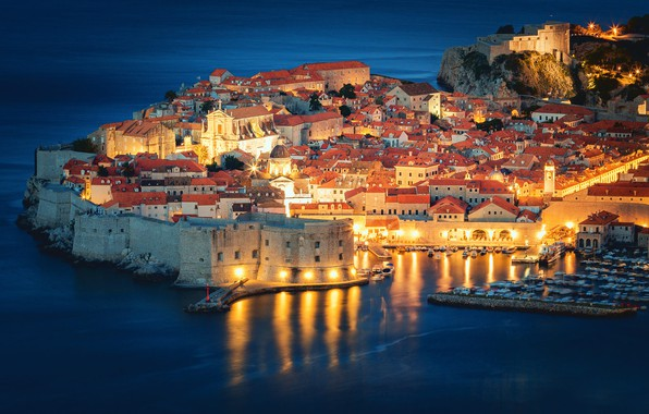 Picture sea, building, home, fortress, night city, Croatia, Croatia, Dubrovnik, Dubrovnik, The Adriatic sea, Old town, …