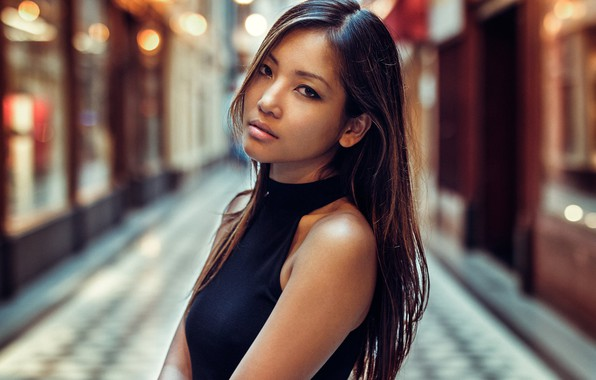 Picture look, girl, face, hair, portrait, Asian, Fabien Mir, Emeline Vu
