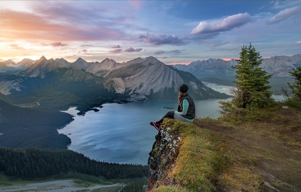 Picture forest, the sky, girl, mountains, lake, Canada, the view from the top, Evgeny