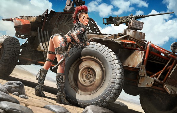 Picture machine, look, girl, pose, weapons, tattoo, art, Mohawk, pin up, Apocalypse, Apocalyptic