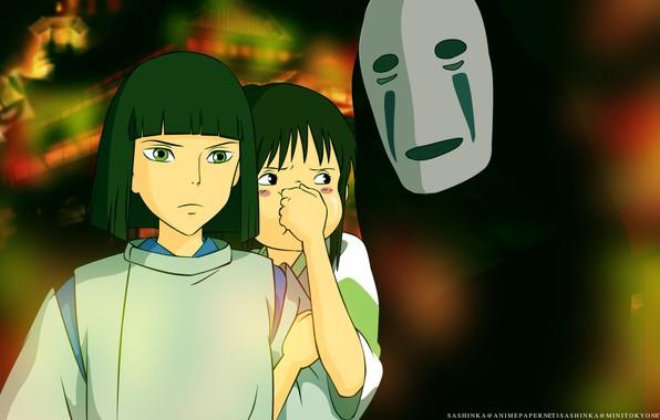 Picture children, mask, art, faceless, Hayao Miyazaki, Haku, Spirited Away, Spirited away, kaonashi, Chihiro, boy and …