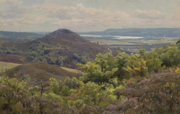 Picture Danish painter, 1925, Peter Merk Of Menstad, Peder Mørk Mønsted, Danish realist painter, View from …