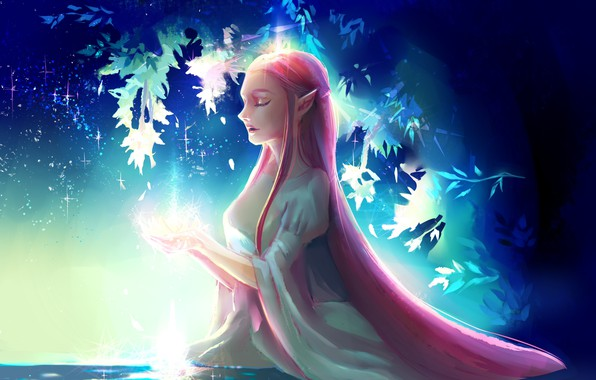 Picture night, lights, magic, elf, white dress, in the water, art, red hair, rite, closed eyes, …