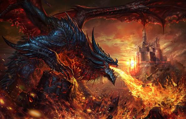 Picture castle, fire, dragon, fantasy, art, li fengyang, dalong