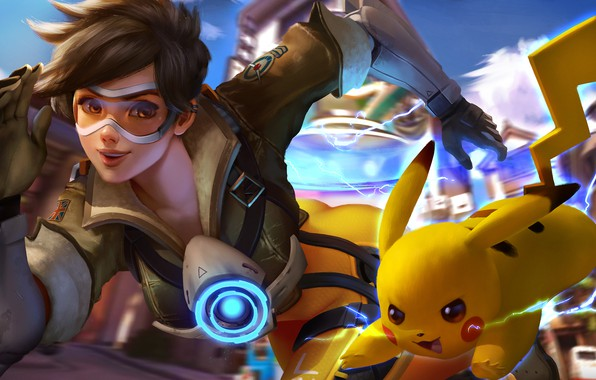 Picture crossover, Pikachu, tracer, overwatch
