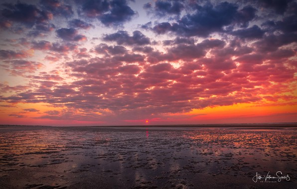 Picture sea, the sky, the sun, clouds, sunset, shore, Jutta Voetmann-Schlub