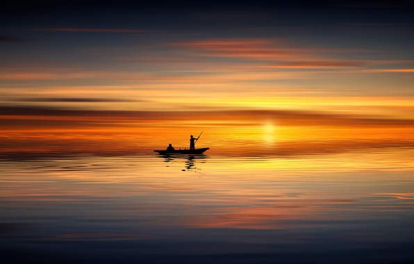 Picture sea, sunset, surface, people, boat, calm, silhouettes