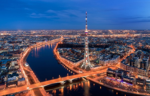 Picture bridge, river, building, tower, home, Saint Petersburg, panorama, Russia, night city, tower, Bolshaya Nevka, Kantemirovsky …