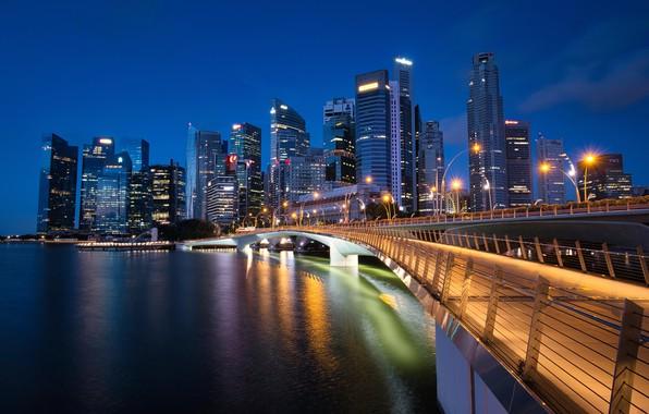 Picture bridge, building, Bay, Singapore, night city, skyscrapers, Singapore, Marina Bay, Jubilee Bridge