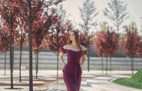 Picture look, girl, pose, Park, figure, dress, beauty, Galaev Eugene