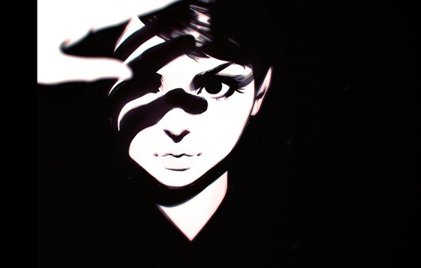 Picture look, face, hand, shadow, contrast, bangs, portrait of a girl, Ilya Kuvshinov, black and white