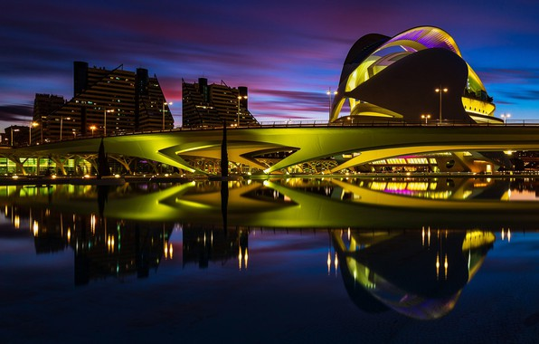 Picture lights, the evening, Spain, Valencia, Palace of arts Reina Sofia