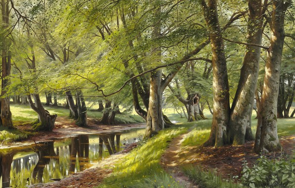 Picture 1908, Danish painter, Peter Merk Of Menstad, Peder Mørk Mønsted, Danish realist painter, oil on …