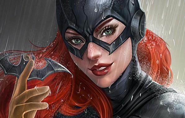 Picture girl, fantasy, rain, green eyes, comics, redhead, artwork, mask, superhero, costume, fantasy art, DC Comics, …