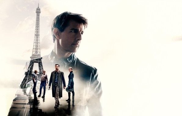 Picture collage, white background, Eiffel tower, action, poster, Tom Cruise, characters, Tom Cruise, Simon Pegg, Henry …