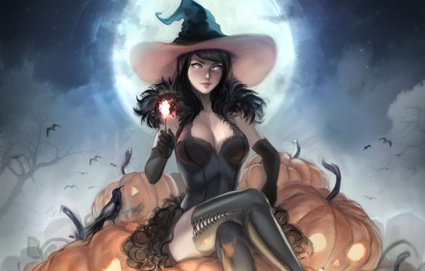 Picture girl, hat, pumpkin, witch, Halloween