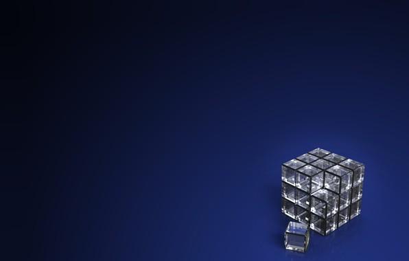 Picture computer graphics, dark blue background, dark blue background, computer graphics, transparent cube, прозрачный куб