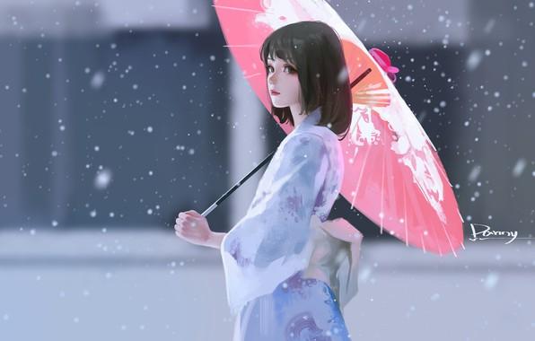 Picture snow, haircut, Asian, yukata, red umbrella, blurred background, portrait of a girl, under the umbrella, …