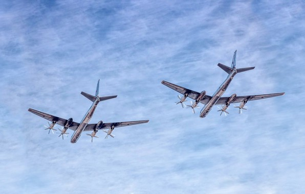 Picture The sky, Clouds, The plane, Flight, Bear, USSR, Russia, Aviation, BBC, Bomber, Tupolev, The plane, ...