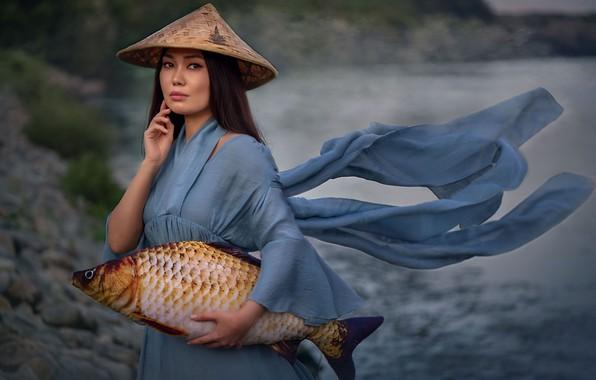 Picture look, girl, fish, hat, carp, catch, Александра Кананерова